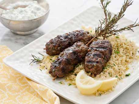Moroccan Beef Skewers with Yogurt and Couscous