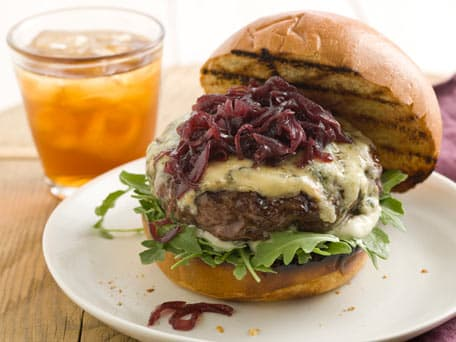 Beef Burgers with Red Onion Marmalade and Blue Cheese