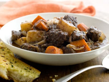 Beef Stew with Red Wine, Root Vegetables and Garlic Bread