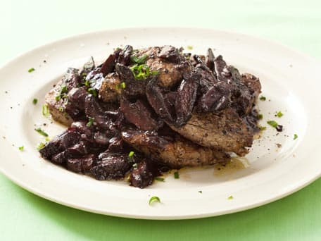 Filet Mignon with Mushrooms and Mustard-Red Wine Sauce