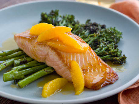 Salmon with Grilled Broccolini and Orange Sauce