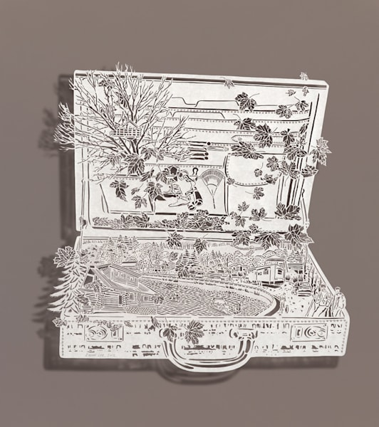 Briefcase Vacation-Fall, cut paper, Chinese xuan (