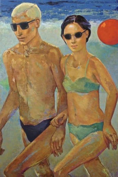Summer at the Beach, oil on canvas, 48