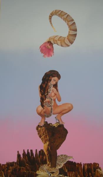 Snake Charmer, 2012, mixed media on board, 22 x 39