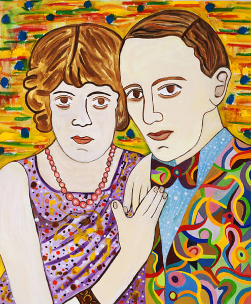 Susan Bee, Fred & Adele, 2012, oil and enamel on c