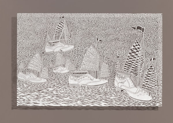 Bovey Lee, Wingtip Racing, cut paper, Chinese xuan