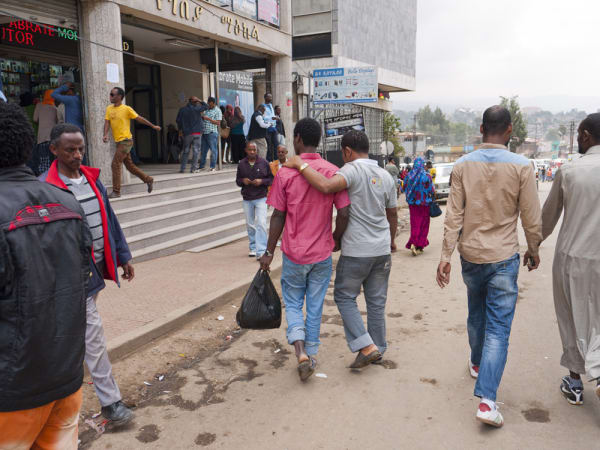 Two men walking from the series, ADDIS ABABA, ETHI
