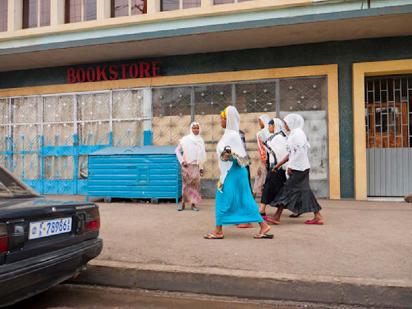 A group of women on their way to Sunday mass from