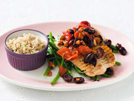 Grilled Turkey Cutlets with Olives and Almonds recipe