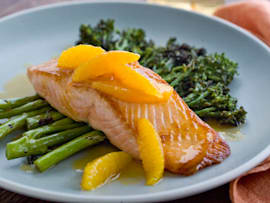 Salmon with Grilled Broccolini and Orange Sauce recipe