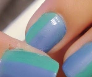 Mani of the Day: Two Toned Green and Blue