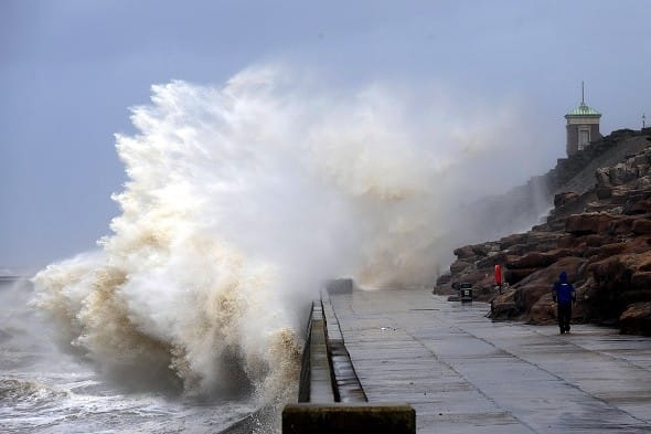 Gales and high tides sweep the coast at Blackpool as the remnants of Hurricane Katia hit British shores