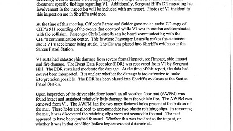 The following report was provided by the San Diego County Sheriff's Department: