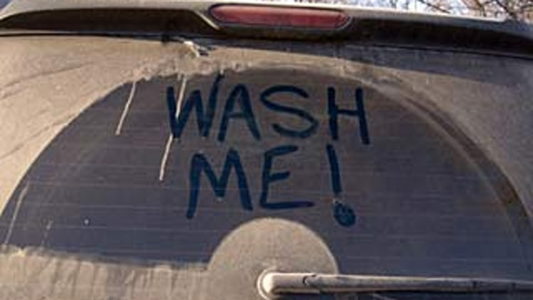 Wash Me! dirty back windshield