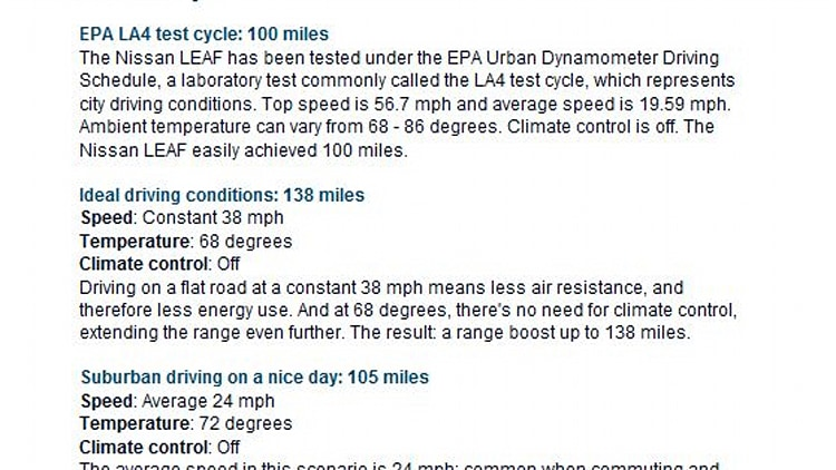 Nissan Leaf range estimates