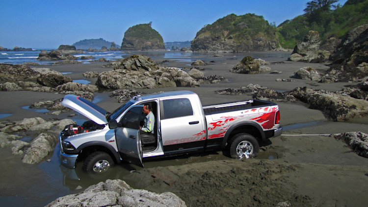 Dodge truck gets stuck in ocean during commercial shoot