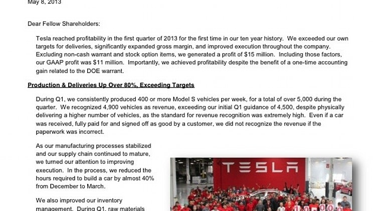 Tesla Motors, Inc. � First Quarter 2013 Shareholder Letter