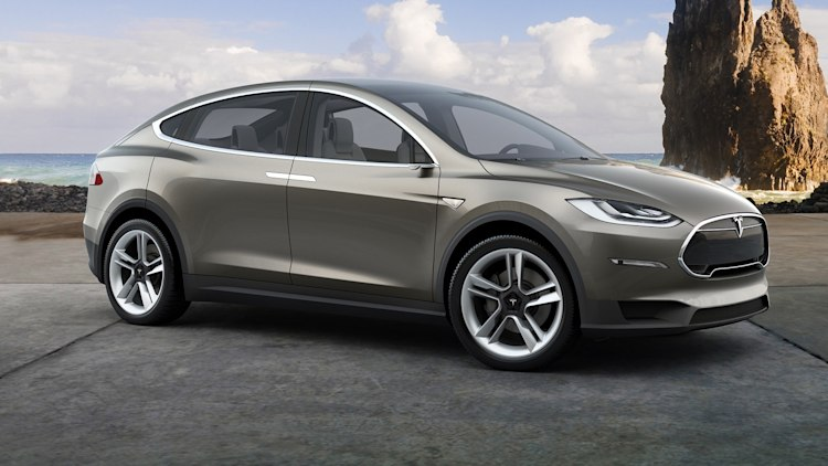 silver model x at the beach