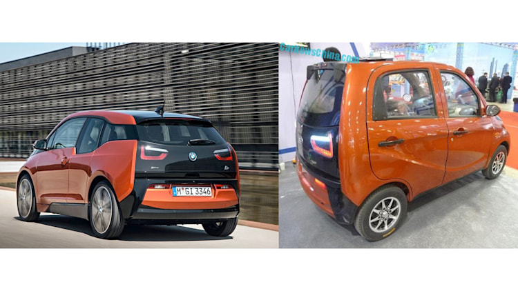 BMW i3 and Jinma Chinese copy rear three quarter in orange