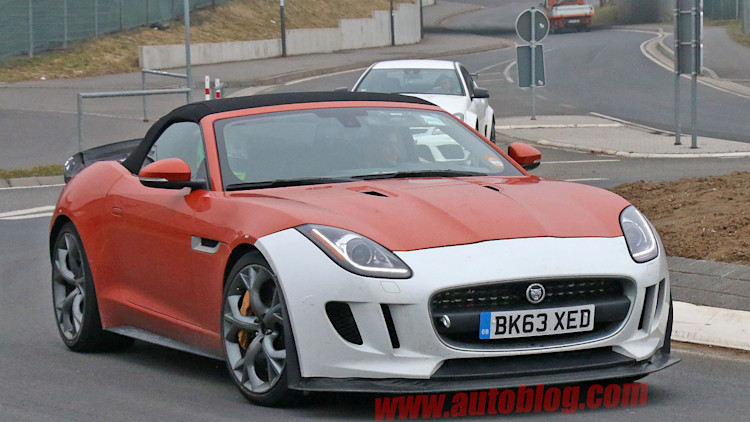 orange jaguar f-type r-s spy shots at nurburgring