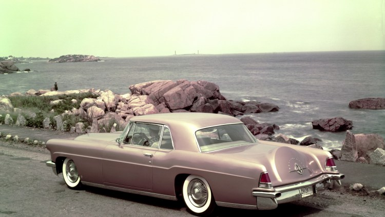 1957 Lincoln Continental Mk II pink red ocean view