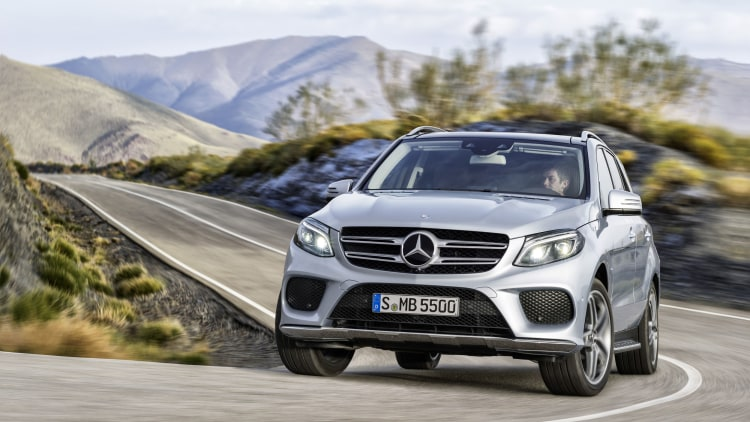 2016 Mercedes GLE in silver on a winding road