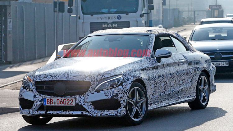 mercedes c-class convertible cabriolet spied