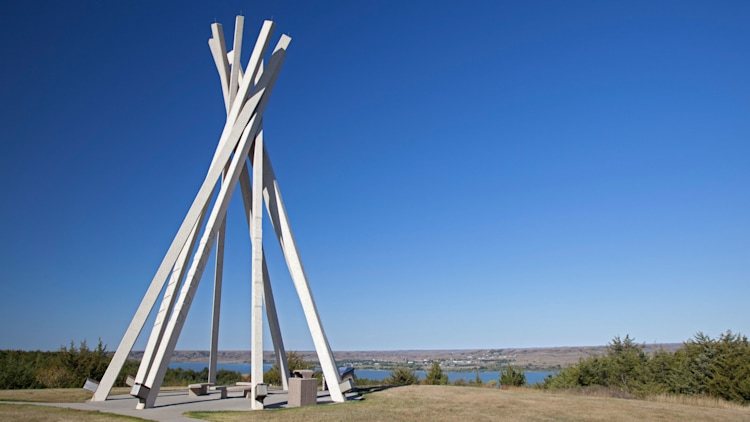 Chamberlain, South Dakota - A concrete teepee encloses benches at a rest area by the Missouri River on Interstate 90.