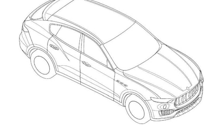 Maserati Levante patent drawing front top 3/4