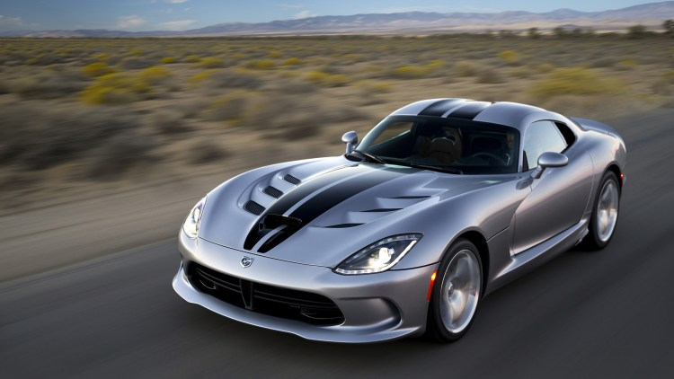 2015 Dodge Viper in silver on a country road