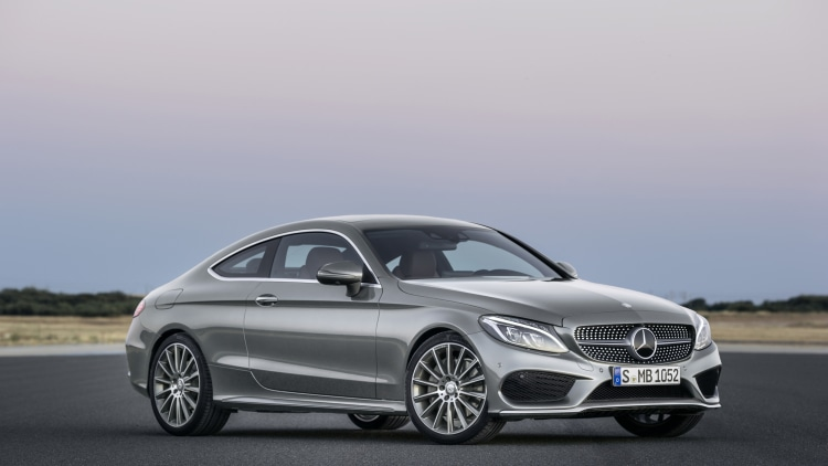 The 2016 Mercedes C-Class Coupe, front three-quarter silver.