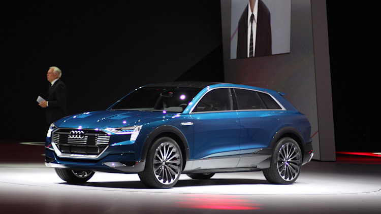 The Audi E-Tron Quattro concept is revealed to the press at Volkswagen ...