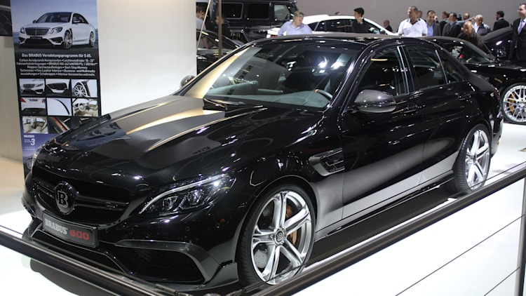 A second variant of the Brabus 600, this one based on the Mercedes-AMG C63 S, is shown off at the 2015 Frankfurt Motor Show, front three-quarter view.
