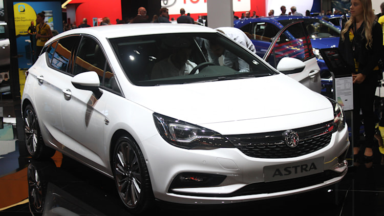 The new 2016 Opel Astra at the Frankfurt Motor Show, front three-quarter view.