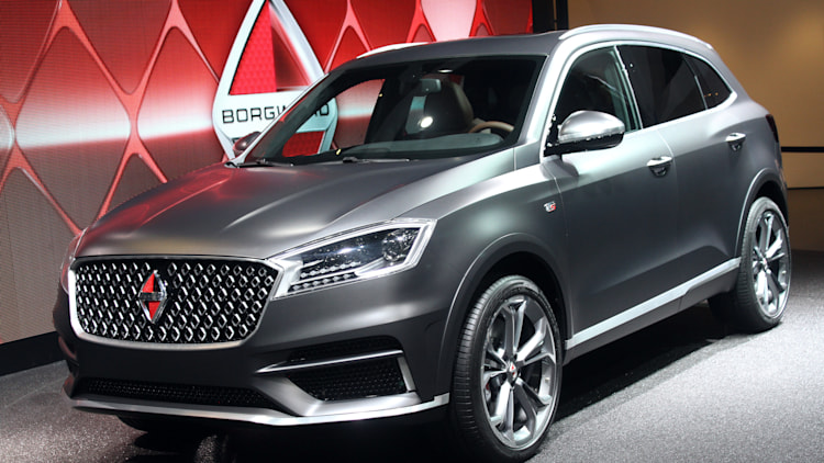 The Borgward BX7 TS, resurrecting the Borgward brand name after 50 years, unveiled at the 2015 Frankfurt Motor Show, front three-quarter view.