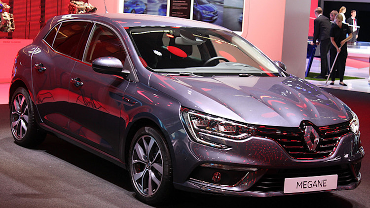 The 2016 Renault Megane, introduced at the 2015 Frankfurt Motor Show, front three-quarter view.