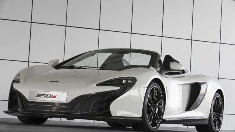 McLaren 650S Spider Al Sahara 79 by MSO static front 3/4 roof down