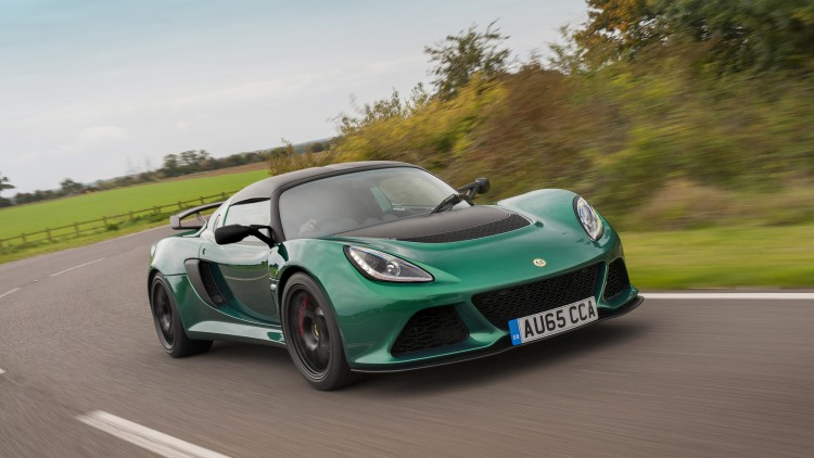 Lotus Exige Sport 350 green front 3/4 motion