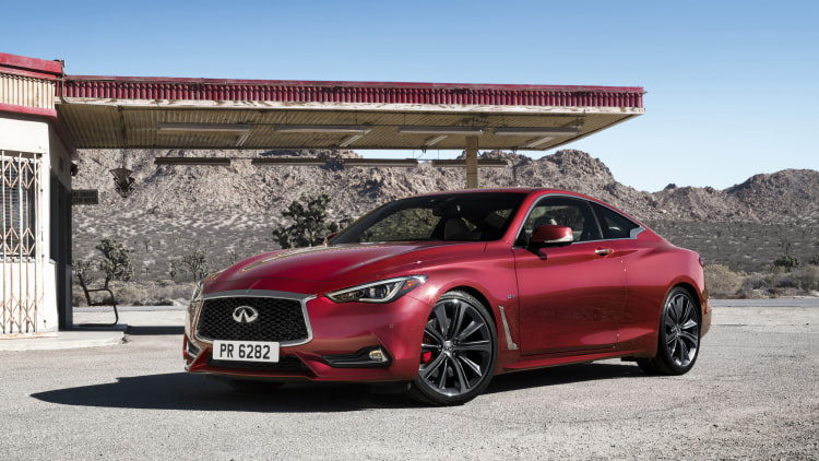 The 2017 Infiniti Q60 Coupe, front three-quarter exterior shot.