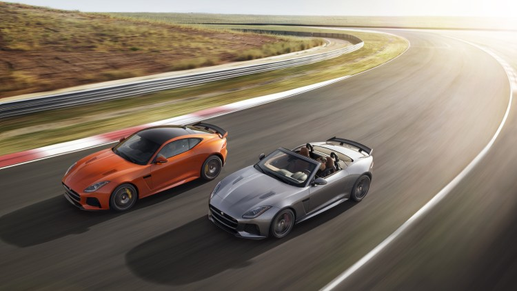 jaguar f-type svr coupe convertible race track