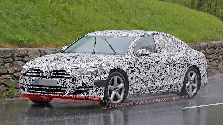 2018 Audi A8 spied with light camo, lots of Prologue touches ...