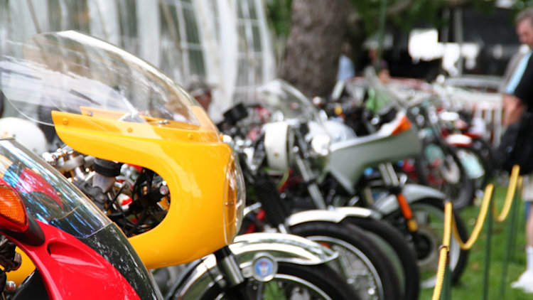 The row of motorcycles at the 2010 Greenwich Concours d'Elegance