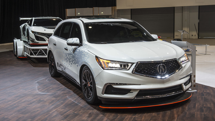 Acura MDX with custom NSX GT3 Trailer: SEMA 2016 Photo ...