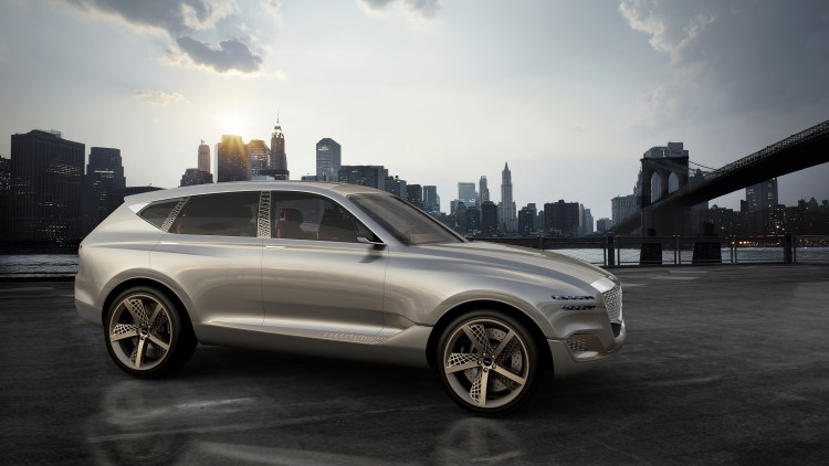 A rendering of the Genesis GV80 concept SUV revealed at the 2017 New York Auto Show, front three-quarter view.