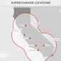 Tesla Supercharger initial locations map