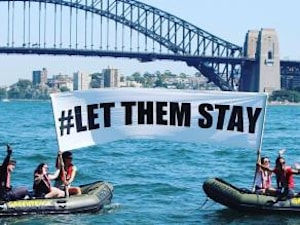Greenpeace Launches Powerful #LetThemStay Protest On Sydney Harbour