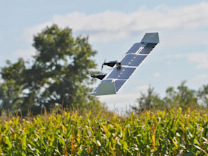 Solar-powered drone switches from helicopter to plane mode