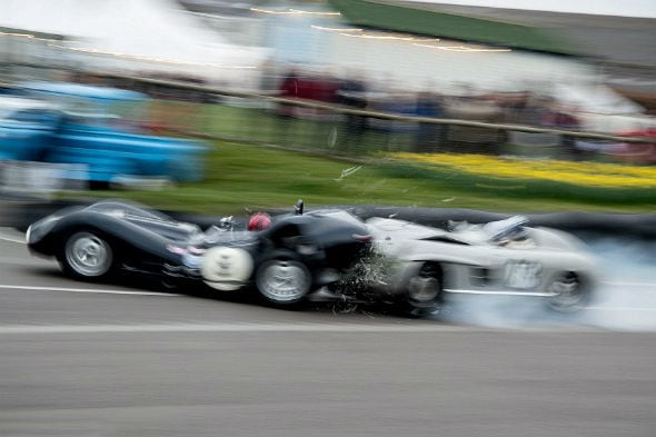 Priceless 1955 Mercedes and 1959 Lister-Jaguar crash at Goodwood