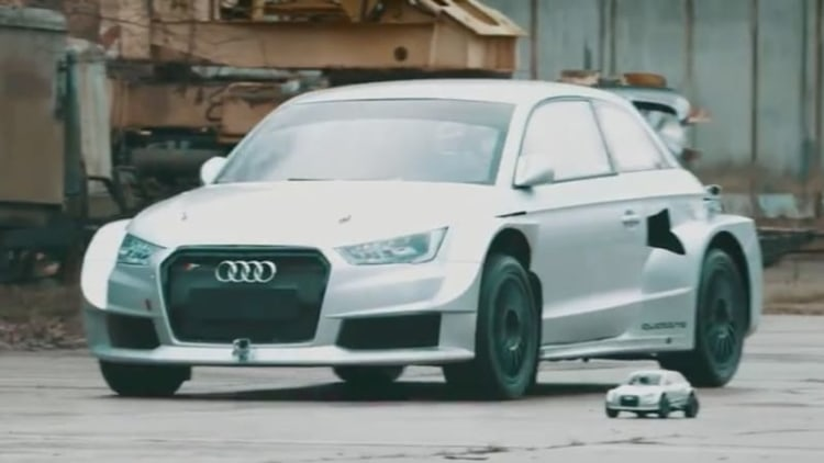 Audi S1 rally car races its RC counterpart