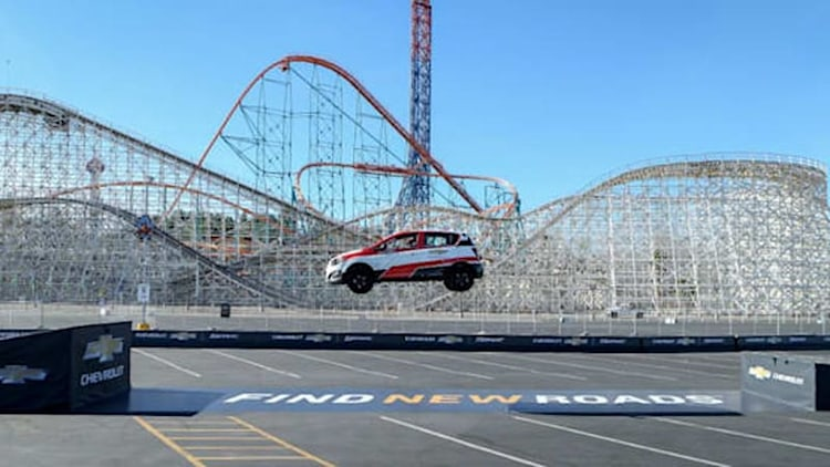 Watch Rob Dyrdek set a world record for longest reverse ramp jump in Chevy Sonic